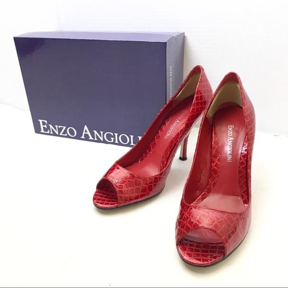 41b90234ed4 Enzo Angiolini - Red Textured Peep-toe heels 6.5M